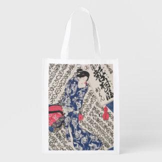 Mujer rodeada por la caligrafía (woodblock del bolsa de la compra