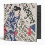 """Mujer rodeada por la caligrafía (woodblock del carpeta 1 1/2"""""""