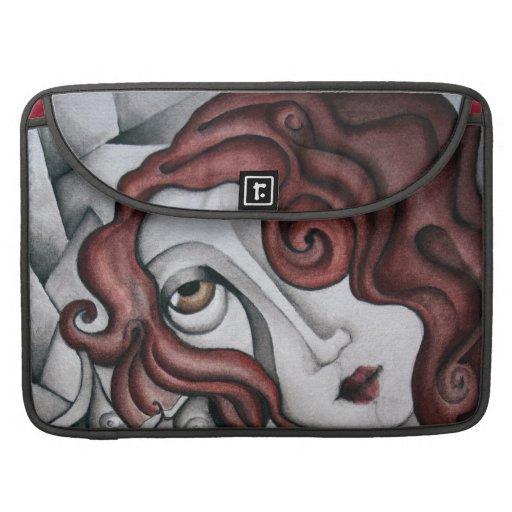 Mujer roja del extracto del pelo - fundas macbook pro