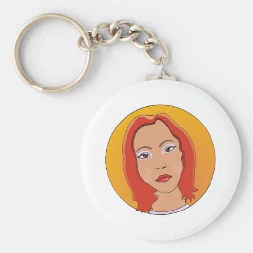 Mujer roja del pelo corto llavero redondo tipo pin