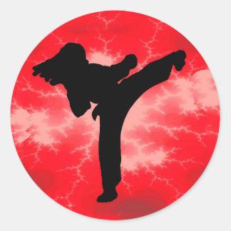 Mujer roja del relámpago de los artes marciales pegatina redonda