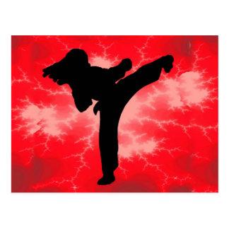 Mujer roja del relámpago de los artes marciales postales