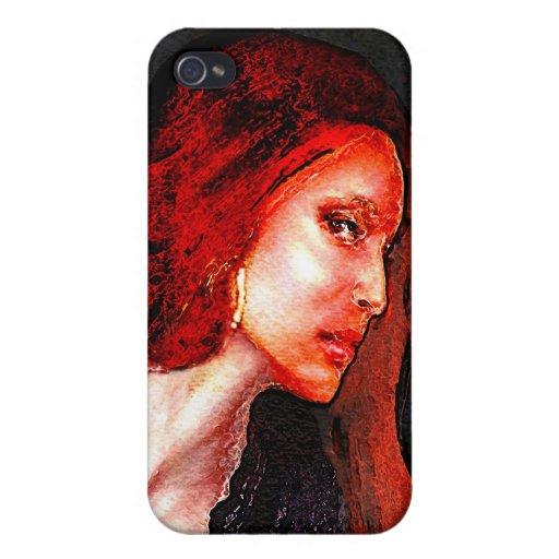 Mujer roja iPhone 4 carcasa
