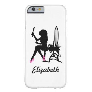 Mujer rosada y negra elegante de la silueta de la funda de iPhone 6 barely there