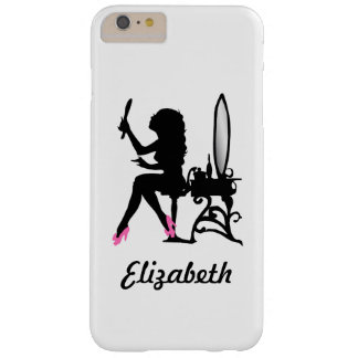 Mujer rosada y negra elegante de la silueta de la funda para iPhone 6 plus barely there