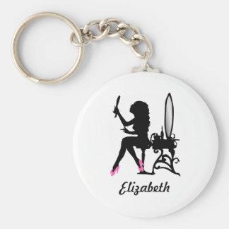Mujer rosada y negra elegante de la silueta de la llavero redondo tipo pin