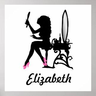 Mujer rosada y negra elegante de la silueta de la  póster