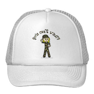 Mujer rubia del ejército gorros bordados