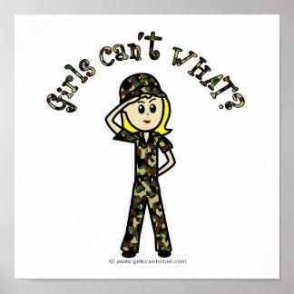 Mujer rubia del ejército impresiones