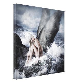 mujer rubia hermosa con las alas del ángel impresion en lona