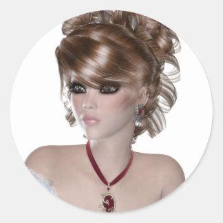 Mujer rubia etiquetas redondas