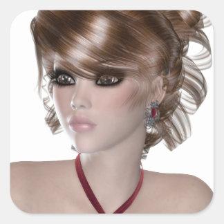 Mujer rubia pegatinas cuadradases personalizadas
