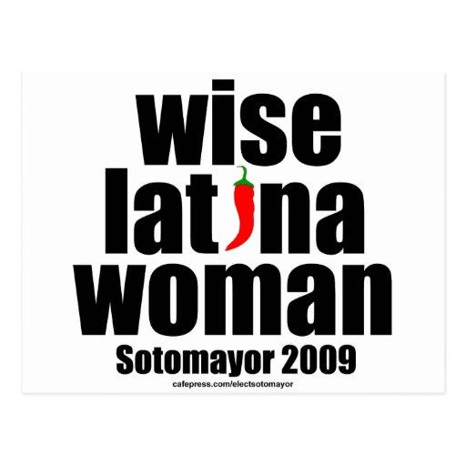 Mujer sabia de Sotomayor… Latina de la justicia Tarjetas Postales