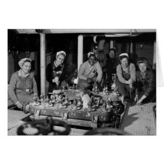 Mujer Shipfitters que trabaja en el submarino Tarjeta De Felicitación