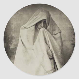 Mujer soltera en Tánger, Marruecos, 1898 Etiquetas Redondas