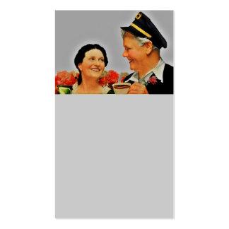 Mujer sonriente del vintage y café de consumición tarjetas de visita