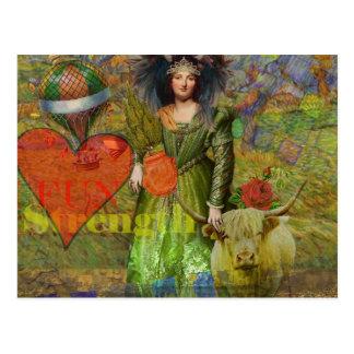 Mujer surrealista del collage del zodiaco de la postal