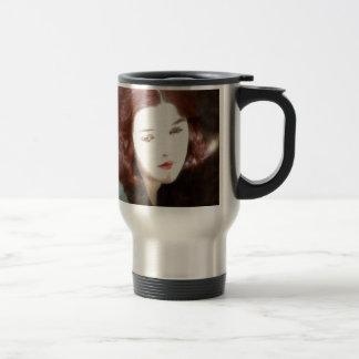 Mujer triste hermosa taza térmica
