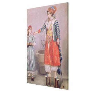 Mujer turca con su criado impresión en lienzo