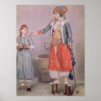 Mujer turca con su criado póster