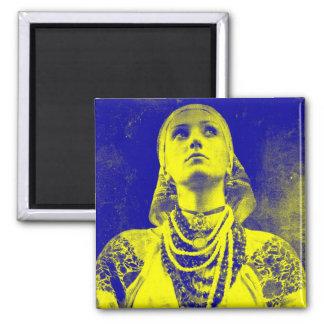 Mujer ucraniana de la bandera del vintage imán cuadrado