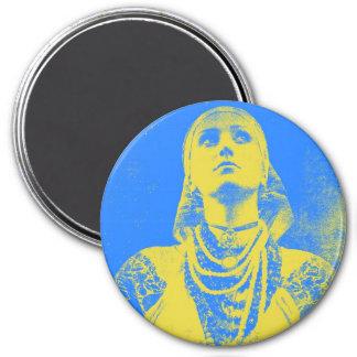 Mujer ucraniana de la bandera del vintage imán redondo 7 cm