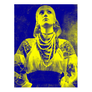 Mujer ucraniana de la bandera del vintage postal