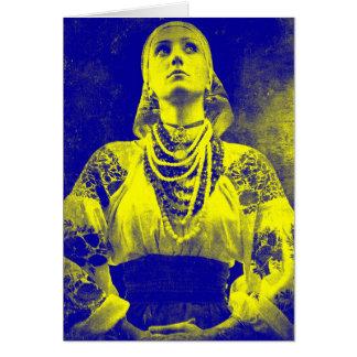 Mujer ucraniana de la bandera del vintage tarjeta de felicitación