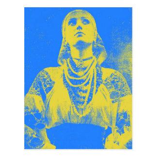 Mujer ucraniana de la bandera del vintage tarjetas postales