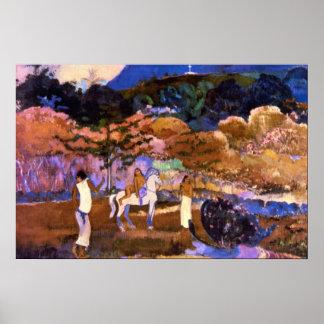 Mujer un caballo blanco por Gauguin Póster
