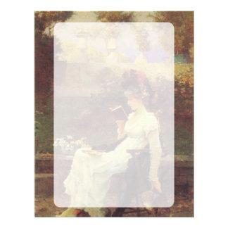 Mujer V2 de lectura del vintage Membrete