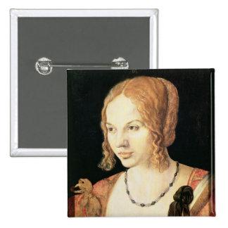 Mujer veneciana joven pin cuadrado