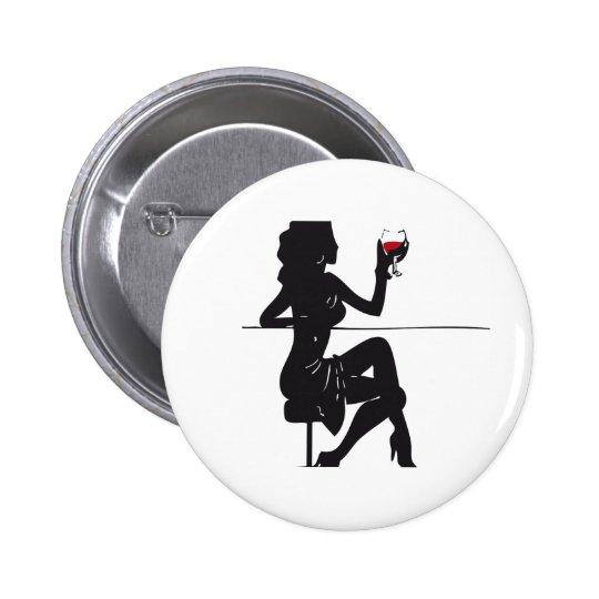 Mujer-Vino Pin Redondo De 2 Pulgadas