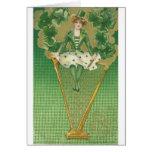 mujer y arpa tarjetón