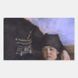 Mujer y Child1873 - 1874 de Dachau de Wilhelm Rectangular Pegatina
