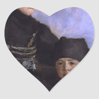 Mujer y Child1873 - 1874 de Dachau de Wilhelm Calcomanía De Corazón Personalizadas