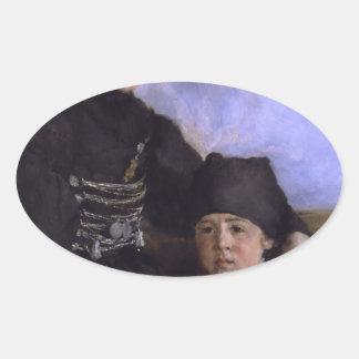 Mujer y Child1873 - 1874 de Dachau de Wilhelm Colcomanias Oval Personalizadas