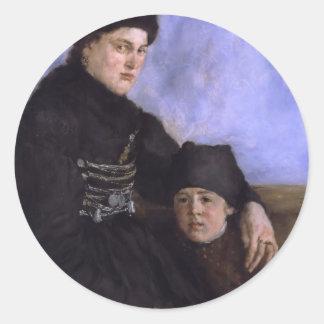 Mujer y Child1873 - 1874 de Dachau de Wilhelm Pegatina Redonda