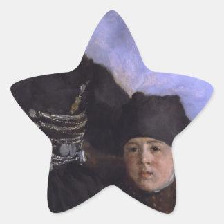 Mujer y Child1873 - 1874 de Dachau de Wilhelm Calcomania Forma De Estrella Personalizada