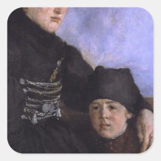Mujer y Child1873 - 1874 de Dachau de Wilhelm Pegatina Cuadradas Personalizadas