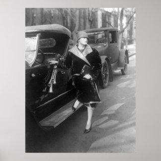 Mujer y coches hermosos, 1926 impresiones