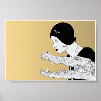 Mujer y cocodrilo 6x4 posters