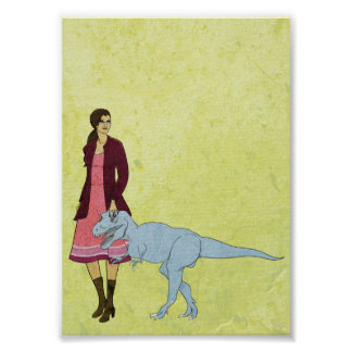 Mujer y dinosaurio 5x7 del catálogo poster