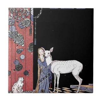 Mujer y ejemplo blanco del cervatillo azulejo cerámica