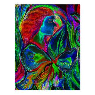 Mujer y flor, colores profundos (m4sol) tarjeta postal
