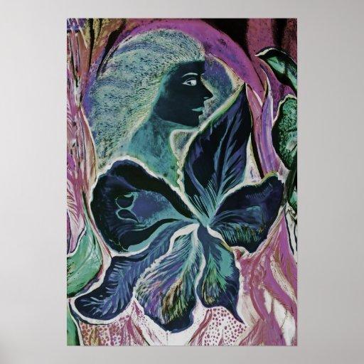 Mujer y flor, remiendo (mudo) póster