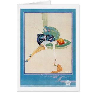 Mujer y gato, Chéri Hérouard Tarjeta De Felicitación