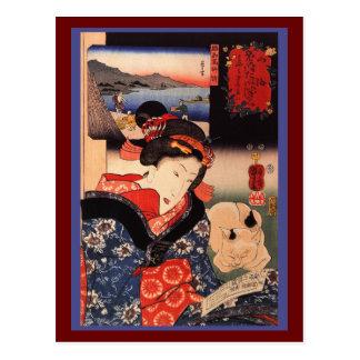 Mujer y gato japoneses postal