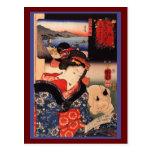 Mujer y gato japoneses tarjetas postales