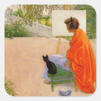 Mujer y gato que miran el puente pegatina cuadrada